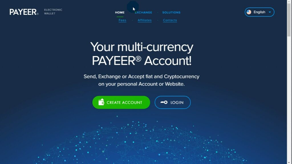 Payeer - домашняя страница - Создать электронный кошелек